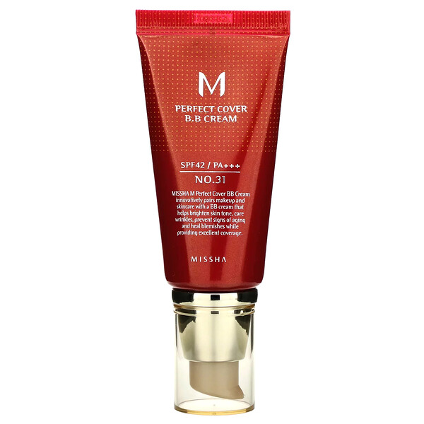 Missha, Perfect Cover BB Cream, SPF 42 PA+++, No. 31 Golden Beige, 50 ml