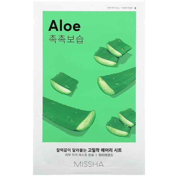 Missha, Airy Fit Beauty Sheet Mask, Aloe, 1 Sheet, 19 g