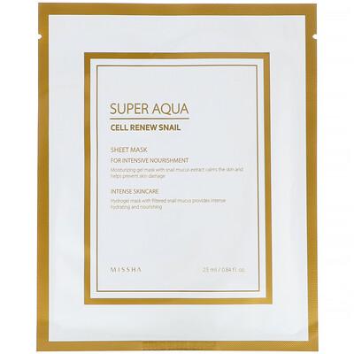 Купить Missha Super Aqua, тканевая маска с экстрактом секрета улитки для восстановления клеток, 1шт., 25мл (0, 84жидк.унции)
