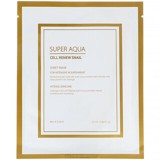 Missha, スーパーアクア、セルリニュー スネイル シートマスク、1枚、25ml(0.84液量オンス)