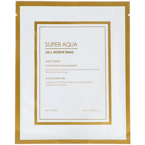 Super Aqua، قناع الحلزون لتجديد الخلايا، رقاقة واحدة، 0.84 أونصة سائلة (25 مل)