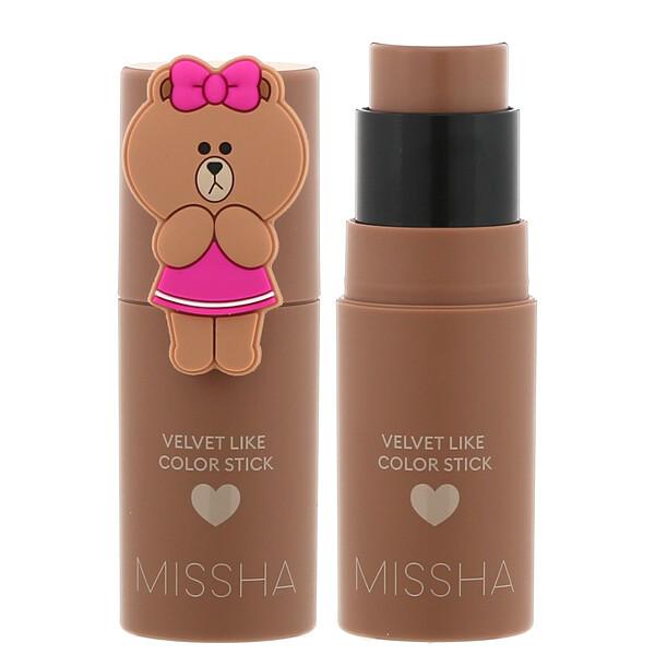 Missha, Line Friends Edition, бархатистые румяна в стике, оттенок Sepia Filter, 7г (0,24унции) (Discontinued Item)