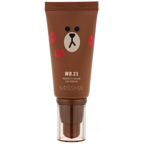 Missha, Line Friends Edition, M Perfect Cover B.B Cream, SPF 42 PA+++, No. 21 Light Beige, 1.7 oz (50 ml)