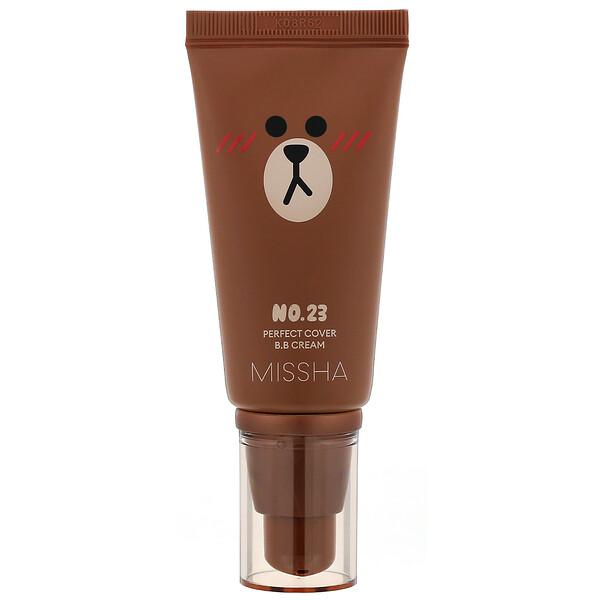 Missha, Line Friends Edition, M Perfect Cover B.B Cream, SPF 42 PA+++, No. 23 Natural Beige, 1.7 oz (50 ml) (Discontinued Item)