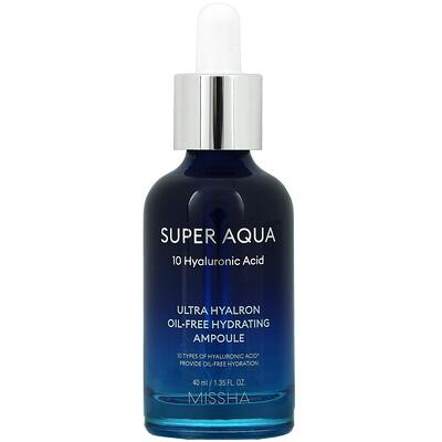 Missha Super Aqua, Ultra Hyalron Oil-Free Hydrating Ampoule, 1.35 fl oz (40 ml)