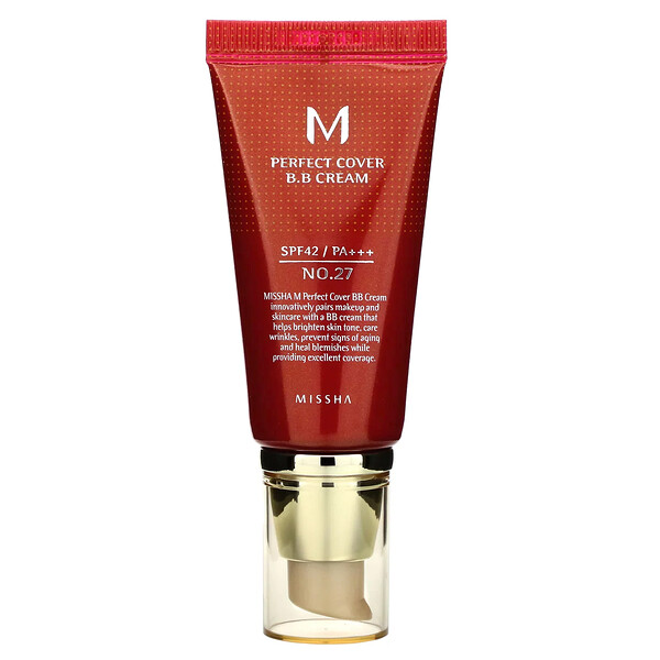 Missha, Perfect Cover B.B. Cream, SPF 42 PA+++, No. 27 Honey Beige, 50 ml