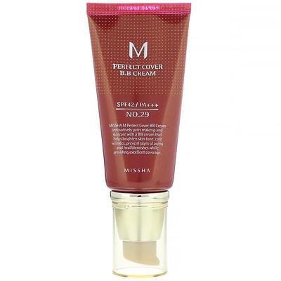 Missha M Perfect Cover B.B Cream, SPF 42 PA+++, No. 29 Caramel Beige, 1.7 oz (50 ml)