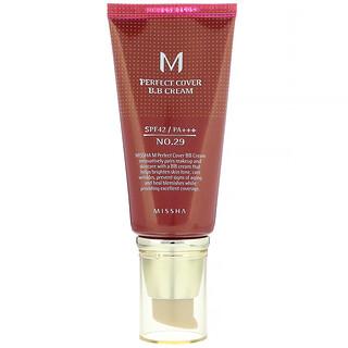 Missha, M Perfect Cover B.B Cream, SPF 42 PA+++, No. 29 Caramel Beige, 1.7 oz (50 ml)