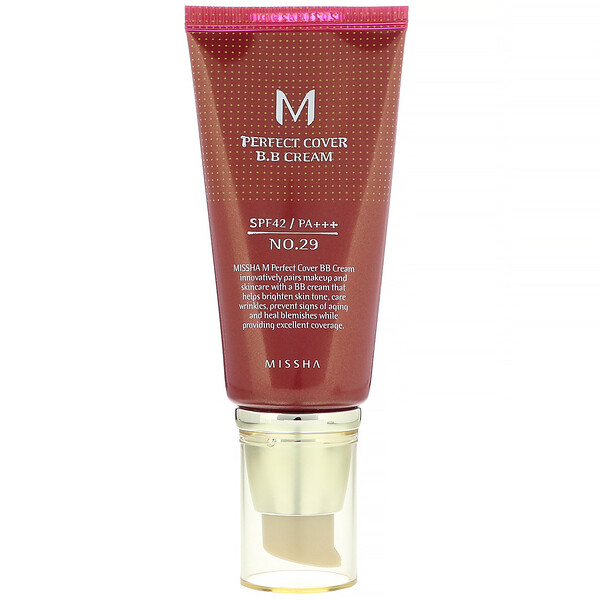 M Perfect Cover B.B Cream, SPF 42 PA+++, No. 29 Caramel Beige, 1.7 oz (50 ml)