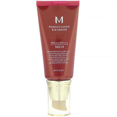 Missha M Perfect Cover, BB-крем, SPF42 PA+++, оттенок 21светло-бежевый, 50мл (1,7унции)