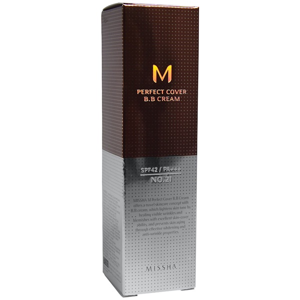 Missha, M Perfect Cover BB Cream, №21, светло-бежевый, 50 мл (Discontinued Item)