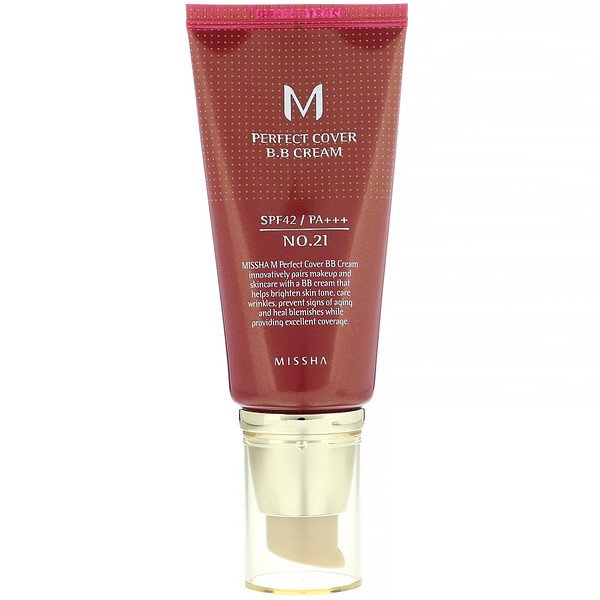 M Perfect Cover B.B Cream, SPF 42 PA+++, No. 21 Light Beige, 1.7 oz (50 ml)