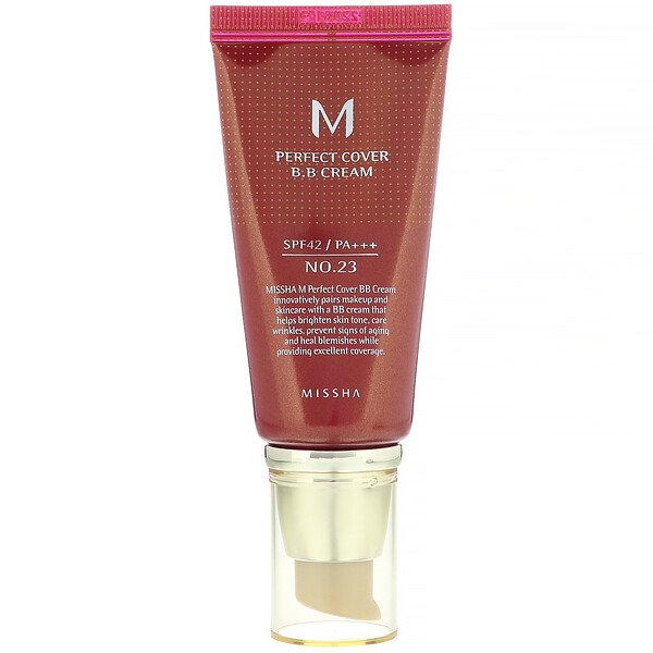 Missha, M Perfect Cover B.B Cream, SPF 42 PA+++, No. 23 Natural Beige, 1.7 oz (50 ml)