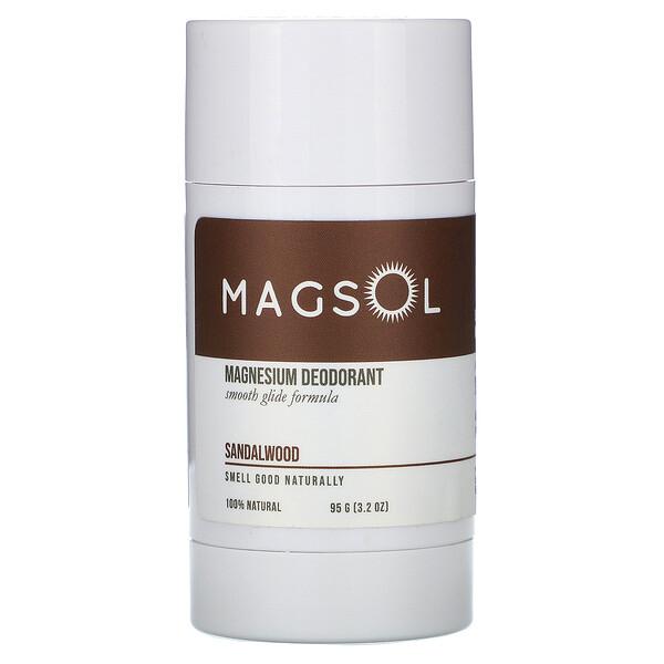 Magsol, Magnesium Deodorant, Sandalwood, 3.2 oz (95 g)