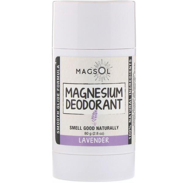 Magsol, マグネシウムデオドラント、ラベンダー、80g