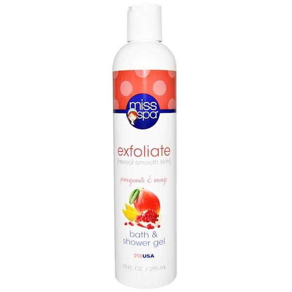 Miss Spa, Exfoliate, Bath & Shower Gel, Pomegranate & Mango, 10 fl oz (295 ml) (Discontinued Item)