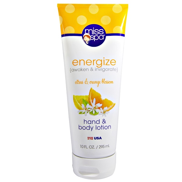 Miss Spa, Energize, Hand and Body Lotion, Citrus & Orange Blossom, 10 fl oz (295 ml) (Discontinued Item)