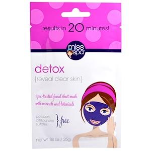 Мисс Спа, Detox, Pre-Treated Facial Sheet Mask, 1 Mask отзывы покупателей