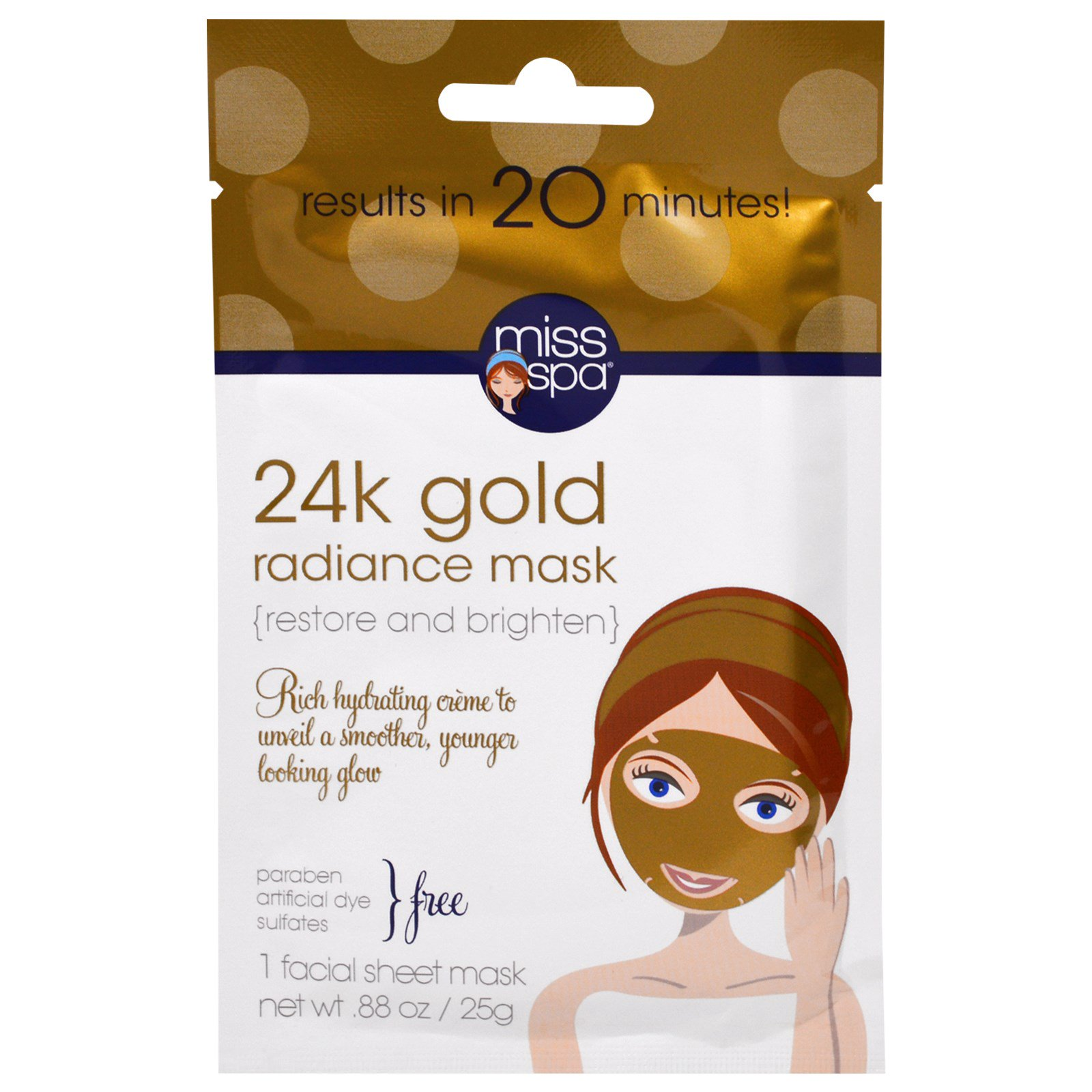 Facial Sheet Mask 24k Gold Radiance - 1 Count by Miss Spa (pack of 4) Garnier SkinActive Miracle Anti-Fatigue Face Moisturizer