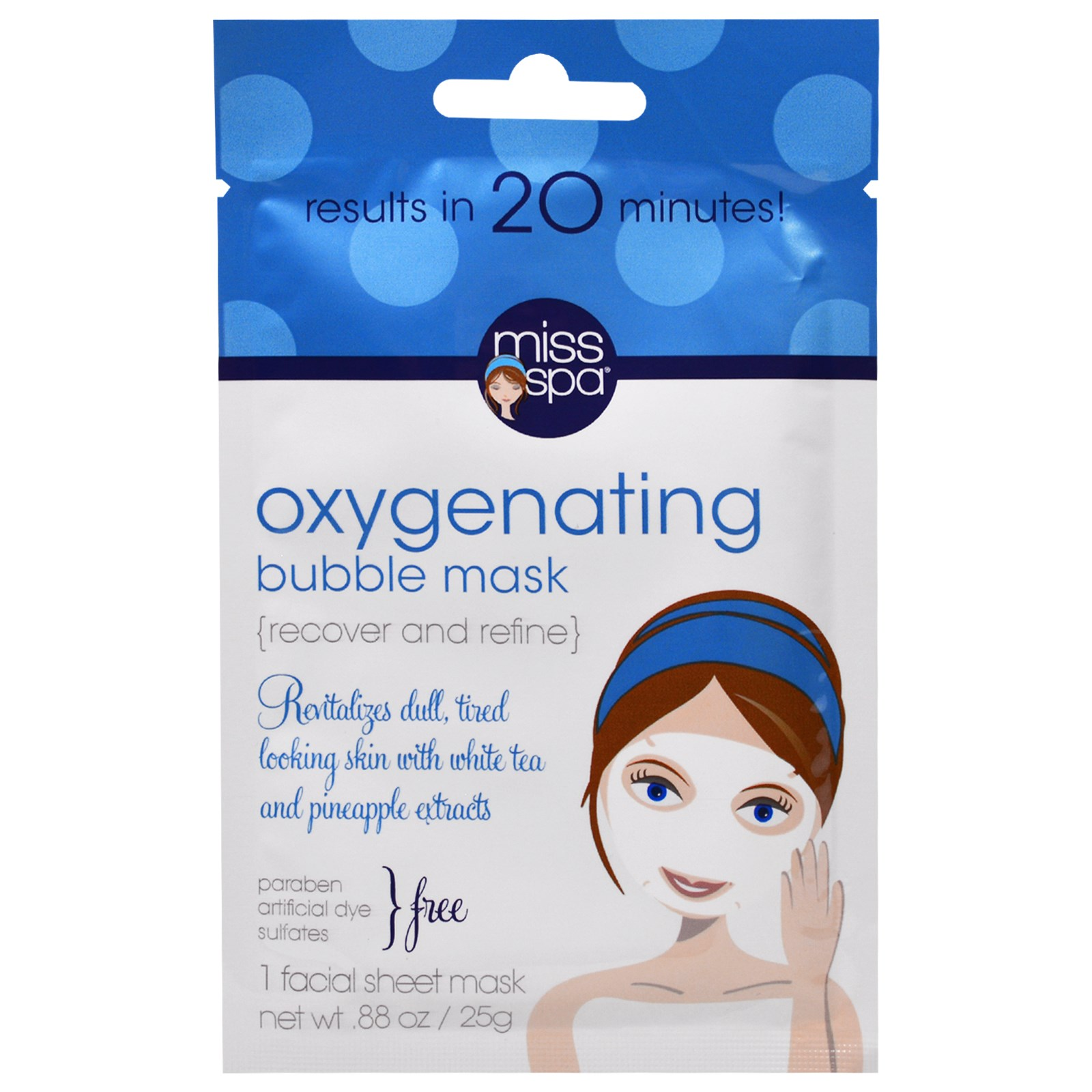 Facial Sheet Mask Oxygenating Bubble - 1 Count by Miss Spa (pack of 3) Aquanil Skin Cleanser 8 oz (Pack of 4)