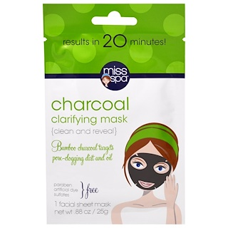 Miss Spa, Charcoal Clarifying Mask, 1 Facial Sheet Mask