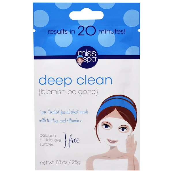 Miss Spa, Deep Clean, 1 Pre-Treated Facial Sheet Mask (Discontinued Item)