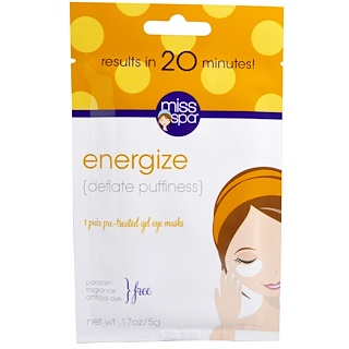 Miss Spa, Energize, Pre-Treated Gel Eye Masks, 1 Pair