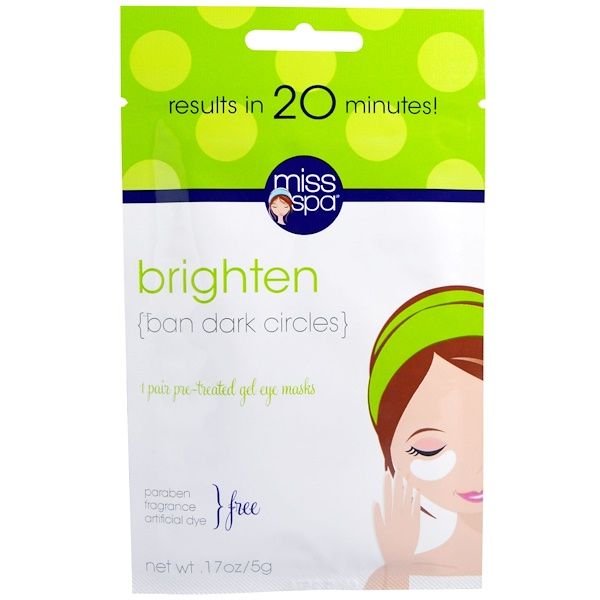 Miss Spa, Brighten, Pre-Treated Gel Eye Masks, 1 Pair (Discontinued Item)