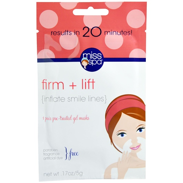 Miss Spa, Firm + Lift, 1 Pair Pre - Treated Gel Masks, 0.17 oz (5 g) (Discontinued Item)