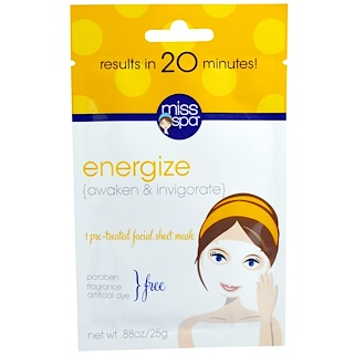 Miss Spa, Energize, 1 Pre-Treated Facial Sheet Mask