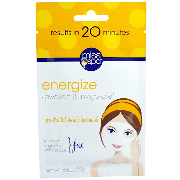 Miss Spa, Energizar, 1 máscara facial previamente tratada (Discontinued Item)