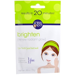 Miss Spa, Brighten, 1 Pre-Treated Facial Sheet Mask, 1 Mask
