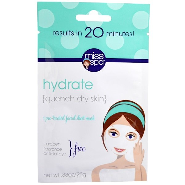 Miss Spa, Hydrate, Pre-Treated Facial Sheet Mask, 1 Mask (Discontinued Item)