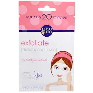 Miss Spa, Exfoliate, Pre-Treated Facial Sheet Mask, 1 Mask