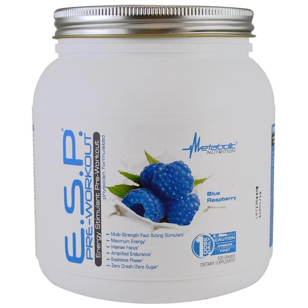 Metabolic Nutrition, E.S.P プレワークアウト、ブルーラズベリー、300 g