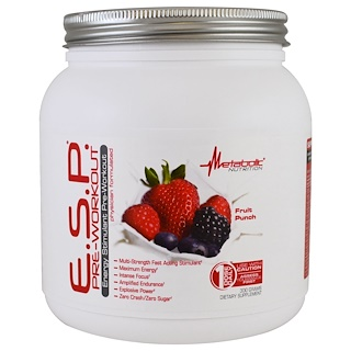 Metabolic Nutrition, E.S.P Pre-Workout, Fruit Punch, 300 g