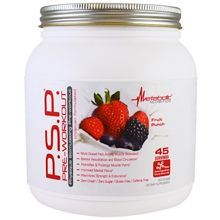 Metabolic Nutrition, P.S.P Pre-Workout, Fruit Punch, 360 g