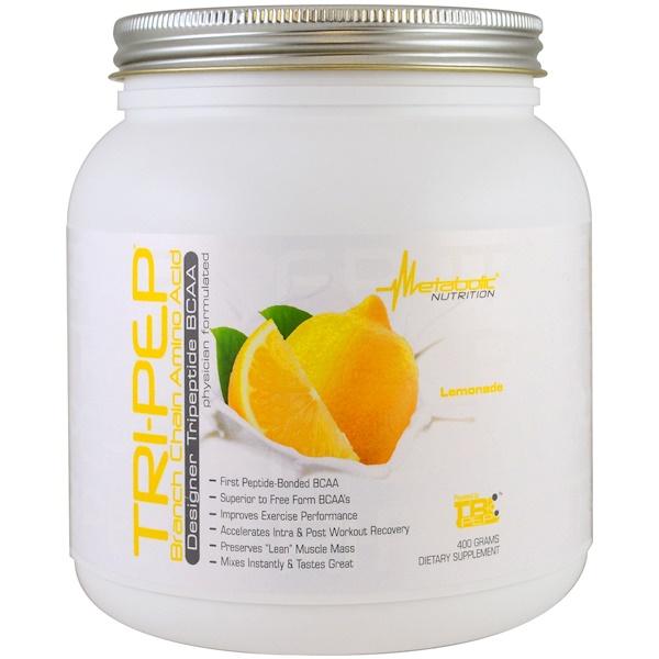 保健品氨基酸支鏈氨基酸(支鏈氨基酸):Metabolic Nutrition, Tri-Pep,支鏈氨基酸,檸檬水,400克