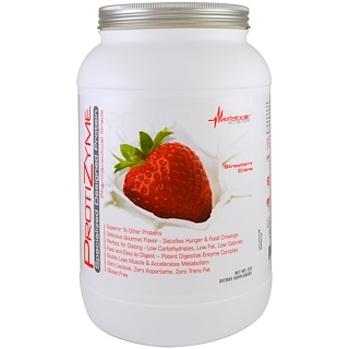 Metabolic Nutrition, ProtiZyme, Specialized Designed Protein, Strawberry Creme, 2 lb