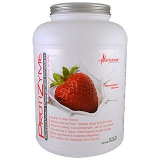 Metabolic Nutrition, ProtiZyme, протеин специального дизайна, клубничный крем, 5 фунтов
