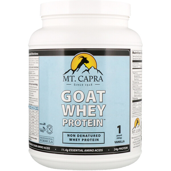 Proteína Whey de Cabra, Baunilha, 453 g