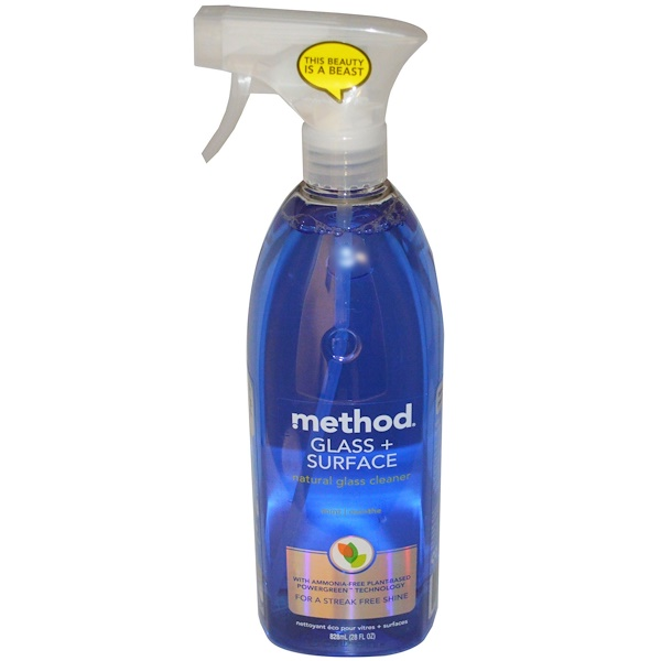Method, Glass + Surface, Natural Glass Cleaner, Mint, 28 fl oz (828 ml) (Discontinued Item)