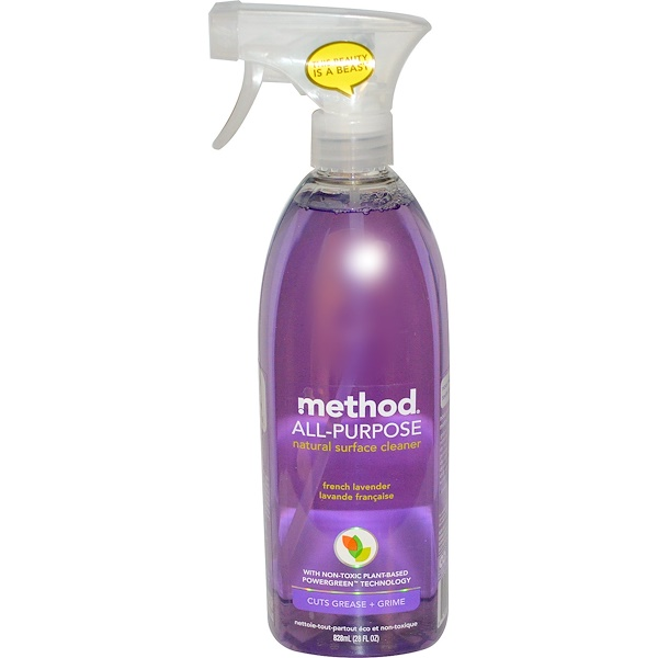 Method, All-Purpose Natural Surface Cleaner, French Lavender, 28 fl oz (828 ml)