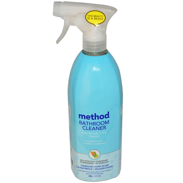 Method, Bathroom Cleaner, Naturally Derived Tub plus Tile Cleaner, Eucalyptus Mint, 28 fl oz (828 ml) (Discontinued Item)