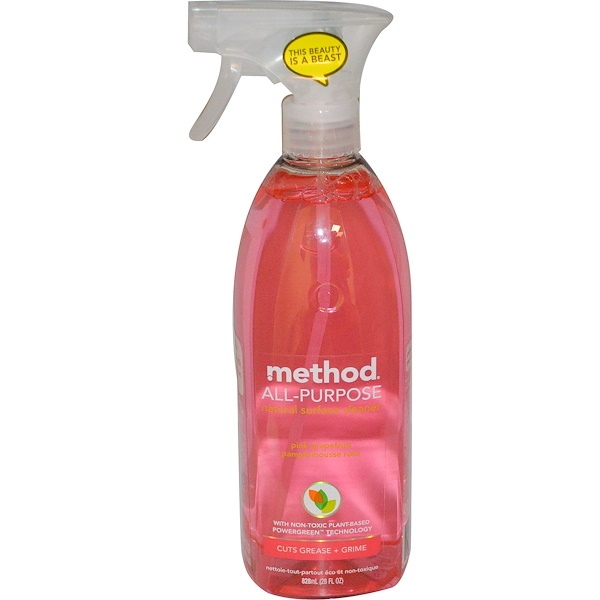 Method, All Purpose Natural Derived Surface Cleaner, Pink Grapefruit, 28 fl oz (828 ml)