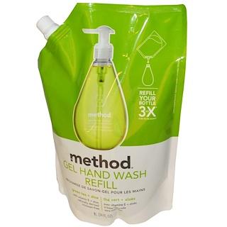 Method, Gel Hand Wash Refill, Green Tea + Aloe, 34 fl oz (1 L)