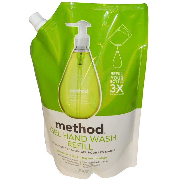 Method, Gel Hand Wash Refill, Green Tea + Aloe, 34 fl oz (1 L) (Discontinued Item)