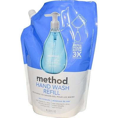 Method 洗手液補充裝,海洋礦物,34液量盎司(1升)