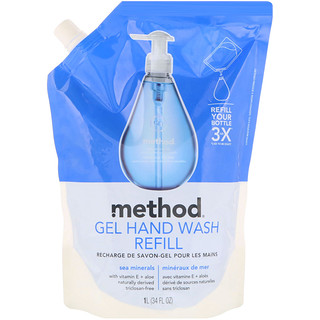 Method, Gel Hand Wash Refill, Sea Minerals, 34 fl oz (1 l)