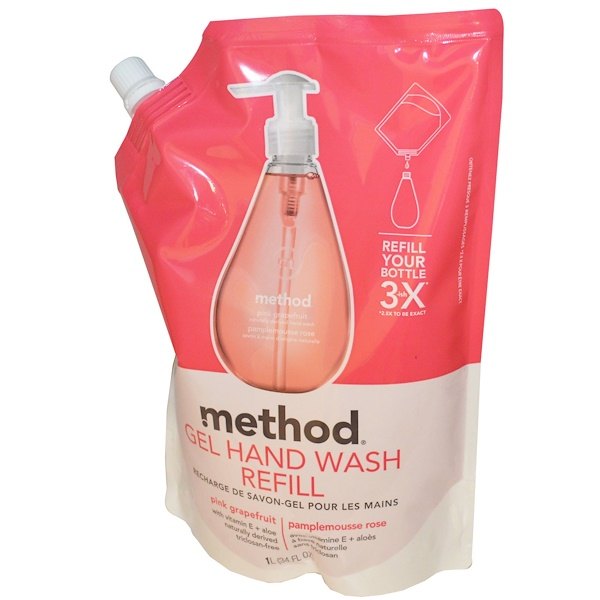 Method, Recharge de gel pour le lavage des mains, pamplemousse rose, 34 fl oz (1 l) (Discontinued Item)